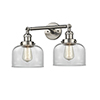 This item: Large Bell Brushed Satin Nickel 19-Inch Two-Light LED Bath Vanity with Clear Dome Glass