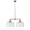 This item: X-Large Bell Brushed Brass Two-Light Chandelier with Clear Glass