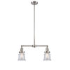 This item: Franklin Restoration Brushed Satin Nickel 21-Inch Two-Light LED Chandelier with Small Clear Canton Shade