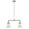 This item: Franklin Restoration Brushed Satin Nickel 21-Inch Two-Light Chandelier with Clear Bellmont Shade