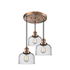 This item: Large Bell Antique Copper Three-Light Pendant with Seedy Dome Glass