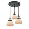 This item: Fulton Black Antique Brass Three-Light Pendant with Matte White Cased Sphere Glass