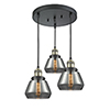 This item: Fulton Black Antique Brass Three-Light Pendant with Smoked Sphere Glass