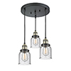 This item: Small Bell Black Antique Brass Three-Light Pendant with Seedy Bell Glass