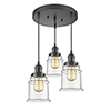 This item: Canton Oiled Rubbed Bronze Three-Light Pendant with Clear Bell Glass
