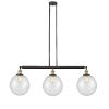 This item: Franklin Restoration Black Antique Brass 42-Inch Three-Light Island Chandelier with Seedy Beacon Shade and Wire