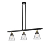 This item: Small Cone Black Antique Brass Three-Light LED Island Pendant with Seedy Cone Glass