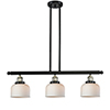This item: Large Bell Black Antique Brass Three-Light LED Island Pendant with Matte White Cased Dome Glass