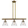 This item: Large Cone Brushed Brass Three-Light Island Pendant with Seedy Cone Glass