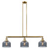 This item: Large Bell Brushed Brass Three-Light LED Island Pendant with Smoked Glass