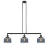 This item: Large Bell Matte Black Three-Light Island Pendant with Smoked Glass
