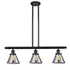 This item: Large Cone Oiled Rubbed Bronze Three-Light LED Island Pendant with Smoked Cone Glass