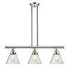 This item: Large Cone Polished Nickel Three-Light Island Pendant with Clear Cone Glass