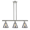 This item: Large Cone Polished Nickel Three-Light LED Island Pendant with Smoked Cone Glass