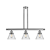 This item: Large Cone Polished Nickel Three-Light LED Island Pendant with Seedy Cone Glass