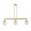 This item: Franklin Restoration Satin Gold 39-Inch Three-Light LED Island Chandelier with Clear Glass Shade