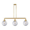 This item: Franklin Restoration Satin Gold 41-Inch Three-Light Island Chandelier with Clear Glass Shade