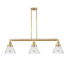 This item: Franklin Restoration Satin Gold 40-Inch Three-Light LED Island Chandelier with Seedy Glass Shade