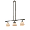 This item: Fulton Brushed Satin Nickel Three-Light LED Island Pendant with Matte White Cased Sphere Glass