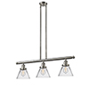 This item: Large Cone Brushed Satin Nickel Three-Light Island Pendant with Clear Cone Glass