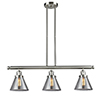 This item: Large Cone Brushed Satin Nickel Three-Light LED Island Pendant with Smoked Cone Glass