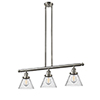 This item: Large Cone Brushed Satin Nickel Three-Light LED Island Pendant with Seedy Cone Glass