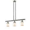 This item: Small Bell Brushed Satin Nickel Three-Light LED Island Pendant with Matte White Cased Bell Glass
