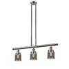 This item: Small Bell Brushed Satin Nickel Three-Light LED Island Pendant with Smoked Bell Glass