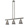 This item: Small Cone Brushed Satin Nickel Three-Light LED Island Pendant with Smoked Cone Glass