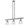 This item: Small Cone Brushed Satin Nickel Three-Light LED Island Pendant with Seedy Cone Glass