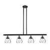 This item: Fulton Black Antique Brass Four-Light Island Pendant with Clear Sphere Glass