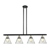 This item: Large Cone Black Antique Brass Four-Light LED Island Pendant with Clear Cone Glass