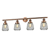 This item: Chatham Antique Copper Four-Light LED Bath Vanity with Clear Fluted Novelty Glass