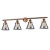 This item: Large Cone Antique Copper Four-Light Bath Vanity with Smoked Cone Glass