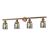 This item: Small Bell Antique Copper Four-Light LED Bath Vanity with Smoked Bell Glass