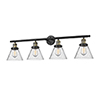 This item: Large Cone Black Antique Brass Four-Light Bath Vanity with Seedy Cone Glass