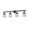 This item: Small Bell Black Antique Brass Four-Light Bath Vanity with Clear Bell Glass