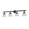 This item: Small Cone Black Antique Brass Four-Light Bath Vanity with Clear Cone Glass
