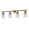 This item: Canton Brushed Brass Four-Light Bath Vanity with Clear Bell Glass