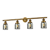 This item: Small Bell Brushed Brass Four-Light Bath Vanity with Smoked Bell Glass