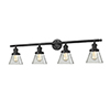 This item: Small Cone Oiled Rubbed Bronze Four-Light LED Bath Vanity with Clear Cone Glass