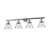 This item: Large Cone Polished Nickel Four-Light LED Bath Vanity with Seedy Cone Glass