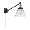 This item: Large Cone Black Antique Brass LED Swing Arm Wall Sconce with Clear Glass