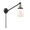 This item: Franklin Restoration Matte Black Antique Brass Eight-Inch One-Light Swing Arm Wall Sconce with Matte White Cased Small Bell Shade and Molded Plug