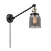 This item: Franklin Restoration Matte Black Antique Brass Eight-Inch One-Light Swing Arm Wall Sconce with Plated Smoke Glass Shade