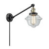 This item: Franklin Restoration Matte Black Antique Brass Eight-Inch One-Light Swing Arm Wall Sconce with Clear Small Oxford Shade and Molded Plug