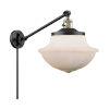 This item: Franklin Restoration Matte Black Antique Brass 12-Inch One-Light Swing Arm Wall Sconce with Matte White Glass Shade