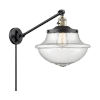 This item: Franklin Restoration Matte Black Antique Brass 12-Inch One-Light Swing Arm Wall Sconce with Seedy Glass Shade