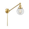 This item: Franklin Restoration Satin Gold 25-Inch One-Light Swing Arm Wall Sconce with Clear Beacon Shade and Molded Plug