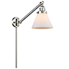 This item: Large Cone Brushed Satin Nickel 25-Inch One-Light Swing Arm Wall Sconce with Matte White Cased Cone Glass